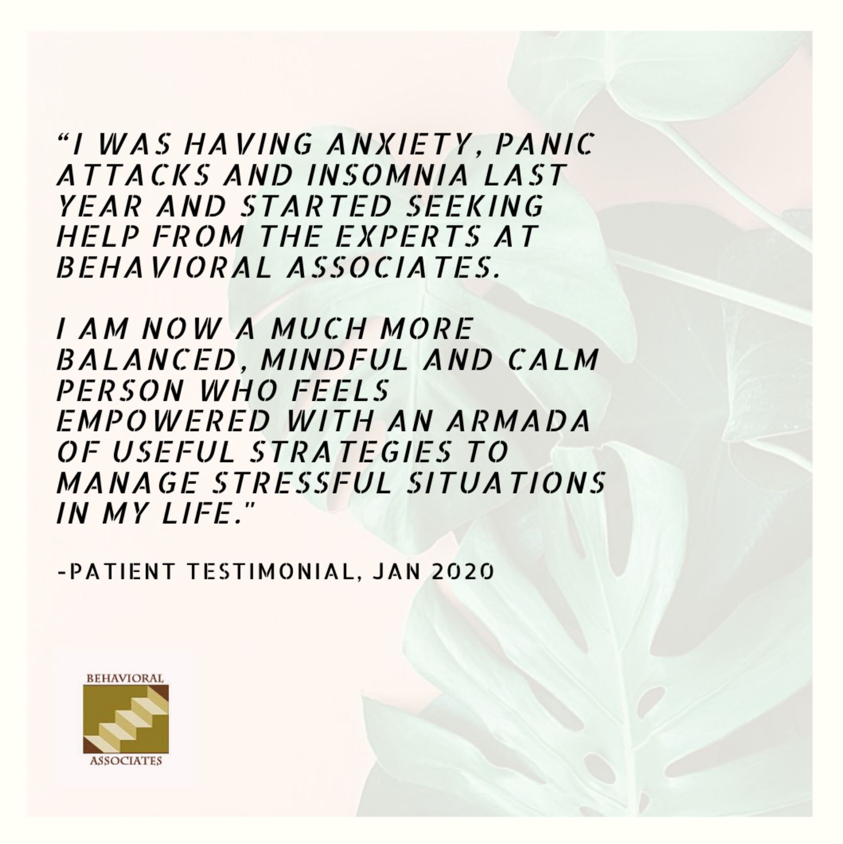 Patient Testimonial from Behavioral Associates